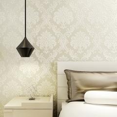 雅蒂墙纸欧式壁纸无纺布墙纸卧室婚房客厅电视背景墙纸 米黄色
