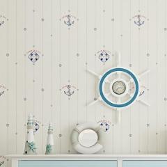 英伦风格儿童房航海无纺布墙纸 卧室背景墙卡通男童房间壁纸 米白色