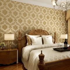 卧室客厅无纺布墙纸 欧式电视背景墙壁纸 简约温馨壁纸 深黄色
