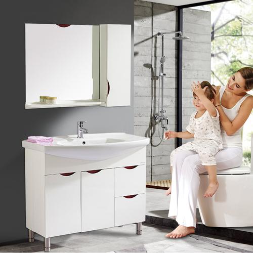 法恩莎现代简约落地式1米时尚浴室柜组合卫生间洗脸盆FPG36