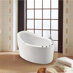 法恩莎正品五件套浴缸1.3M椭圆形亚克力单人澡盆防滑沐浴盆FW007Q