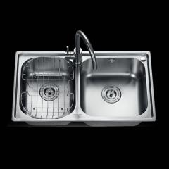 法恩莎水槽双槽卫浴不锈钢槽盆洗菜盆FGP819+厨房水龙头F5A9016C