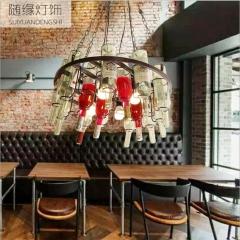 随缘灯饰   铁艺可调节高度工业风复古酒吧吧台灯适合各种公共场所 4头