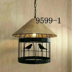 随缘灯饰  厂家直销美式乡村风格纯手工编织麻绳鸟笼灯咖啡灯 5-25W
