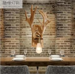 随缘灯饰  树脂鹿头工业风壁灯适合各种公共场所和家庭设计师的灯6022 木艺灯饰