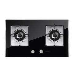 MQ名气 635B黑晶钢化玻璃燃气灶 不锈钢拉丝积水盘 燃气灶