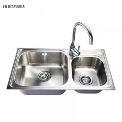 惠达卫浴不锈钢304双水槽 洗菜6件套(菜板、沥水篮)