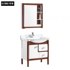 帝荣洁具现代简约PVC浴室柜镜柜一体陶瓷洗面盆落地柜