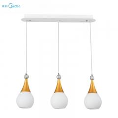 美的照明餐厅吊灯三头简欧餐厅灯led灯具创意温馨个性金色吊灯