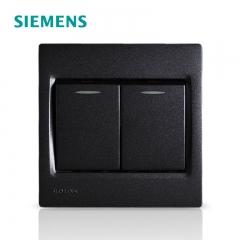 长城灯饰  西门子开关插座面板灵动金属黑墙壁开关二开单控带荧光 黑色