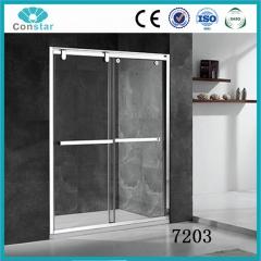 简易淋浴房7203 钢化玻璃 不锈钢 一字型 浴室非标定制淋浴房 定金