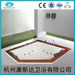 嵌入式 钻石型 冲浪按摩浴缸 亚克力橡木 双人泡泡浴缸 智能恒温 定金