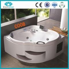 浴缸C008 五件套 冲浪按摩浴缸 亚克力双人豪华浴缸 两层实木台阶 定金