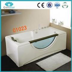 浴缸C1023 五件套 冲浪按摩浴缸 亚克力 月亮弯玻璃 单人独立浴缸 定金