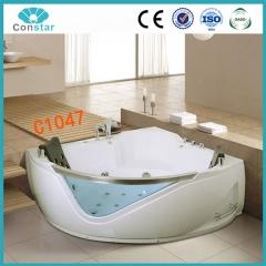 浴缸C1047 五件套 冲浪按摩浴缸 亚克力 扇形双人浴缸 智能恒温 定金