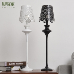 格调 雕花梳妆卧室温馨北欧宜家现代简约铁艺创意台灯床头灯 BT1115 白色矮款