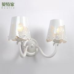 格调 北欧欧式简约现代白色浪漫玫瑰客厅餐厅卧室铁艺镂空壁灯BW-R1115 白色双头