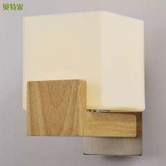 格调 客厅床头卧室过道阳台创意墙灯现代简约北欧宜家床头灯木壁灯BW-JY-902 搁板花纹(右)
