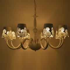 格调 欧式简约现代白色浪漫玫瑰吊灯客厅餐厅卧室铁艺镂空吊灯BP-R115 三头