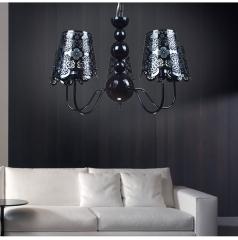 [ 限时特价 ] 包邮 格调 客厅餐厅欧式铁艺雕花个性吊灯BP1115-5 黑色五头