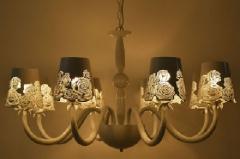 格调 欧式简约现代白色浪漫玫瑰吊灯客厅餐厅卧室铁艺镂空吊灯 八头