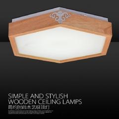 格调 实木LED新中式日式客厅灯现代简约仿古风卧室阳台灯BC-W500 BC-W500(大六边形)