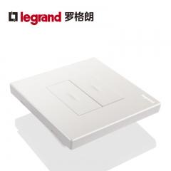 鑫源灯饰罗格朗开关插座面板仕典白色二开单控带LED纯平复位墙壁电源86型