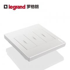 鑫源灯饰罗格朗开关插座面板仕典白色三开单控带LED纯平复位墙壁电源86型