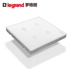 鑫源灯饰罗格朗开关插座面板仕典白色四位触摸感应带LED纯平墙壁电源86型