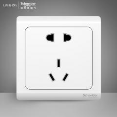 方圆森亚施耐德电气 二三插五孔插座墙壁电源开关插座面板10A 轻逸清雅白