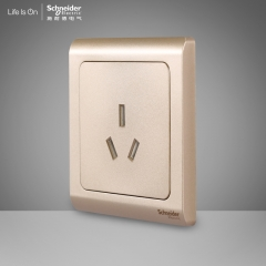 方圆森亚施耐德电气 三孔16A 空调电源墙壁开关插座面板16A 轻逸格调金