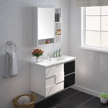 JOMOO九牧 黑白橡胶木浴室柜组合 洗脸盆洗漱台