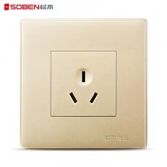 松本电工尚品金色10A三极电源插座三孔开关插座面板 B8/10S