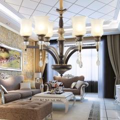 佛山照明奥普仕美式简约水晶吊灯 客厅餐厅卧室时尚个性创意铁艺枝型玻璃罩吊灯