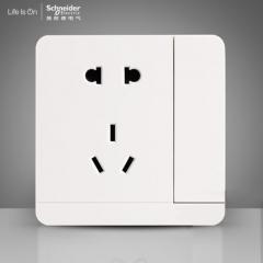 施耐德电气 带开关二三插一开五孔插座 插座面板10A 绎尚镜瓷白 咨询客服