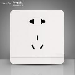施耐德电气 二三插五孔插座墙壁电源开关插座面板10A 绎尚镜瓷白 咨询客服