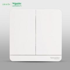 施耐德电气 二位二开双联双控 电源插座开关面板16A 绎尚镜瓷白 咨询客服