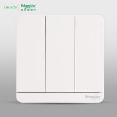 施耐德电气 三位三开三联双控 电源插座开关面板16A 绎尚镜瓷白 咨询客服
