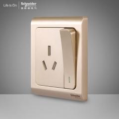 施耐德电气 带开关一开三孔16A空调墙壁电源插座面板 轻逸格调金 咨询客服