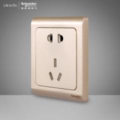 施耐德电气 二三插五孔插座墙壁电源开关插座面板10A 轻逸格调金 咨询客服