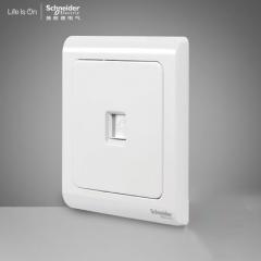施耐德电气开关插座 电话插座墙壁电话面板 弱电插座 轻逸清雅白 咨询客服