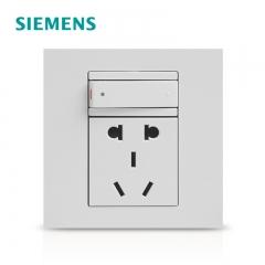 卓达灯饰西门子开关插座 点晶雅白一开五孔电源插座