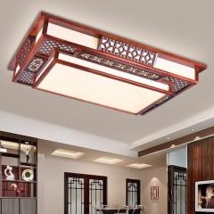 御宝轩 现代新中式卧室吸顶方形实木亚克力客厅灯简约大气家用led灯具