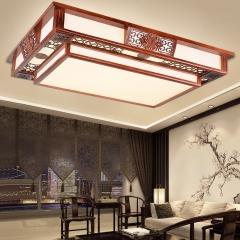 御宝轩 现代中式卧室吸顶灯长方形实木亚克力客厅灯简约大气家用led灯具