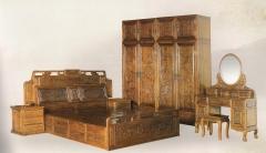 新森林木业仿古家具床(三件套)C-026 图片色 实木 可定制 定金