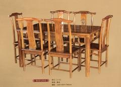 新森林木业仿古家具餐桌七件套C-12 图片色 实木 可定制 定金