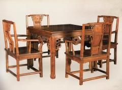新森林木业仿古家具八仙桌五件套B-06 图片色 实木 可定制 定金