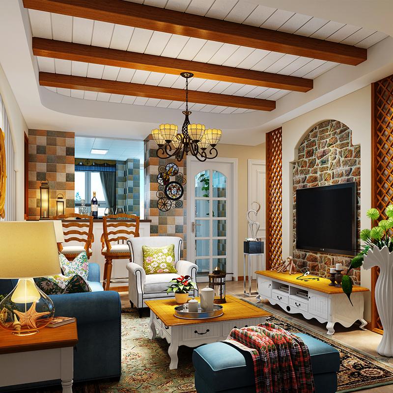 美式客厅吊顶造型假梁阳台集成吊顶铝天花板装饰创意个图片