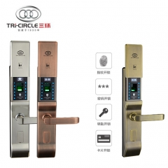 三环滑盖指纹锁家用防盗门密码锁入户门电子智能门锁具刷卡锁338 不锈钢【指纹+密码+卡+钥匙】