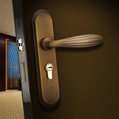 三环中式门锁室内房门锁简欧式实木门锁具卧室房门锁具三件套装 泡古红